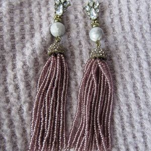 Purple Tassel Beaded Earrings- Statement Jewelry